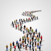 Template With A Crowd Of Business People Standing In A Line. People Crowd. Vector Illustration poster