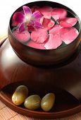 foto of gladiola  - Pink petals in Japanese traditional bowl - JPG