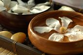 pic of gladiola  - Floral scented water in wooden bowl - JPG