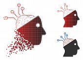 Neural Interface Links Icon In Sparkle, Pixelated Halftone And Undamaged Solid Versions. Cells Are A poster