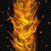 Translucent Fire Flame With Vertical Seamless Repeat On Transparent Background. For Used On Dark Bac poster