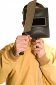 stock photo of serial killer  - Serial killer holding a cleaver and a mask to protect his identity - JPG