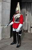 LONDON â?? SEPTEMBER 24: An unidentified Royal Cavalry is on guard at the Horse Guard Buildings on S