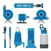 Water Pumps. Industrial Machinery Electronic Pump Steel Systems Sewage Aqua Control Station Vector I poster