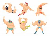 Lucha Libre Characters. Mexican Wrestler Fighters In Mask Macho Libros Vector Martial Cartoon Mascot poster