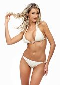 stock photo of string bikini  - Sexy blonde woman - JPG