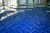 The Azur Mosaic Bottom Of An Aquapark Pool. A View To The Tiled Floor Through The Clean Water Of Ind poster