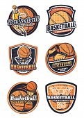 Basketball League, Championship Or Tournament, Sport Team Badges. Vector Icons Of Basketball Ball In poster