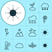 Nature Icons Set With Overcast, Sprout, Sunshine And Other Sunshine Elements. Isolated Vector Illust poster
