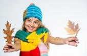 Girl Long Hair Happy Face Wear Bright Knitted Hat And Scarf White Background. How To Style Colourful poster