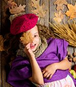 Knitted Accessory Fashion Detail. Fashion Little Kid Girl Bright Soft Knitted Hat Beret. Autumn Fash poster