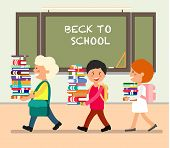 Happy Kids With Books In Classroom. Study At School. Back To School In September. Schooling Concept. poster