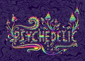 Rainbow Fantasy Mushrooms, Plants And Word Psychedelic, Isolated poster