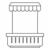 Window With Canopy And Window And Flowerbox Icon. Outline Illustration Of Window With Canopy And Flo poster