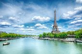 View of Paris with Eiffel tower poster