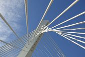 Abstract detail of Millennium bridge, Modern arhitectural construction on river Moraca, Podgorica, C poster