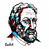 Euclid Engraved Vector Portrait With Ink Contours. Greek Mathematician, Often Referred To As The fo poster