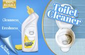 Poster Of Toilet Cleaner Ads, Before And After Effect Of Detergent, Top View Of Bowl In 3d Illustrat poster