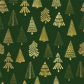 Gold Foil Doodle Christmas Trees Seamless Vector Pattern Backdrop. Metallic Shiny Golden Trees On Gr poster