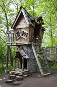 stock photo of house woods  - Fantasy treehouse in Inniswood Gardens in Columbus - JPG