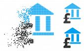 Library Pound Payment Icon In Disappearing, Pixelated Halftone And Undamaged Whole Versions. Pixels  poster