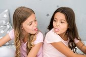 Children Show Tongue Each Other. Relations Sisters Or Best Friends. Overcome Relations Issues. Child poster