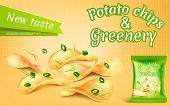 Promotion Banner With Realistic Potato Chips And Greenery, High-calorie Meal, Foil Package With Cris poster