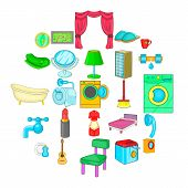 Apartment Building Icons Set. Cartoon Set Of 25 Apartment Building Vector Icons For Web Isolated On  poster