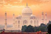 Taj Mahal on sunset, Indian Symbol - India travel background. Agra, Uttar Pradesh, India poster
