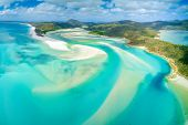 Hill Inlet At Whitehaven Beach On Whitesunday Island, Queensland, Australia poster