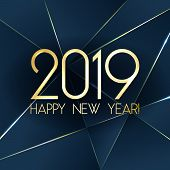 Blue 2019 Happy New Year Card With Premium Polygonal Gradient Triangles And Foil Texture Lines Backg poster