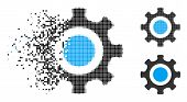 Cogwheel Icon In Dispersed, Dotted Halftone And Undamaged Entire Versions. Particles Are Composed In poster