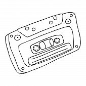 Audio Cassette. Vector Old Audio Cassette. Hand Drawn Audio Cassette. poster