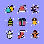 Vector Image. Icons Set Of Colored Stickers Christmas Decorations Cartoon. Christmas Bright Icons. E poster