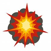 Fire Explosion Icon Flat Isolated On White Background Illustration poster