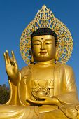 Golden Buddha statue at buddhist temple of Sanbanggulsa at Sanbangsan of Jeju island Korea