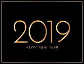 New Year 2019 Greeting Card. 2019 Golden New Year Sign On Dark Background. Vector Illustration Of Ha poster