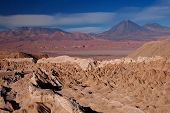 view from Valle de la Muerte (Death Valley) on the volcanoes Licancabur and Juriques, Chile