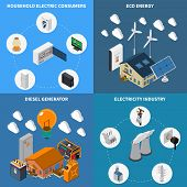 Electricity Household Consumption Supply Eco Energy And Diesel Power Industrial Generators Concept 4 poster