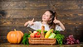 Girl Kid Rustic Style Farmers Market With Fall Harvest. Kid Farmer With Harvest Wooden Background. C poster