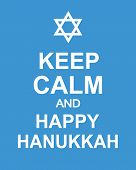 Keep Calm And Happy Hanukkah. Fun Poster. Jewish Holiday Elegant Greeting Card Template With Menorah poster