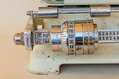 Close-up Of A Mechanical Gauge Of A Weight Scale  /close-up Of A Mechanical Gauge Of A Weight Scale  poster