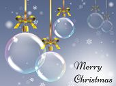 Christmas Background With Realistic Balls. Xmas Baubles. Greetin poster