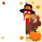 The Turkey In Hat Peeps Out From Behind The White Sheet And Shows A Like. Thanksgiving Day poster