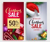 Christmas Sale Vector Poster Design Set With Sale Promotional Text And Colorful Christmas Elements I poster