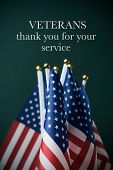 some american flags and the text veterans thank you for your service against a dark green background poster