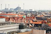 Urban Cityscape Of Copenhagen With Modern And Historical Buildings, Denmark. Top View On Danish Capi poster