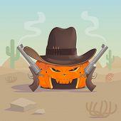 Cowboy Orange Pumpkin Has Two Guns In Hot Desert It Is Wearing A Cowboy Hat. The Guns Smoke After Sh poster