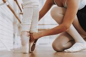 Close Up. Ballet Training Of Young Girls Indoors. Classical Ballet. Girl In Balerina Tutu. Training  poster