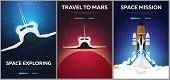 Set Of Banners Of Space. Space Shuttle. Astronomical Galaxy Space Background. Vector Illustration poster